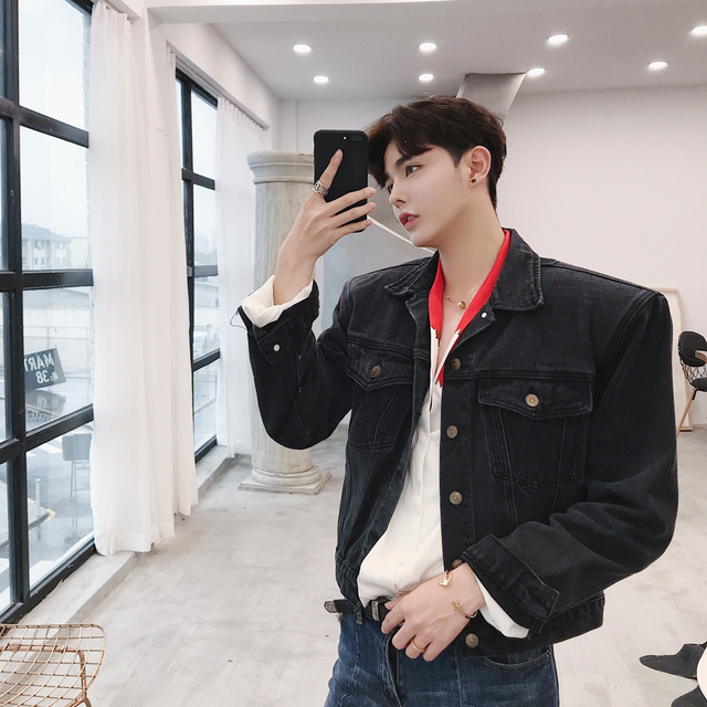 ac58caf491cf MIXCUBIC 2017 Autumn winter England style Personality shoulder shape denim  jackets men casual slim denim jackets