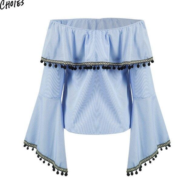 34cdf048c6d Blue Stripe Off Shoulder Ruffle Hem Pom Poms Tassels Vintage Blouse 2017  Long Flared Sleeve Slash Neck Backless Loose Women Top