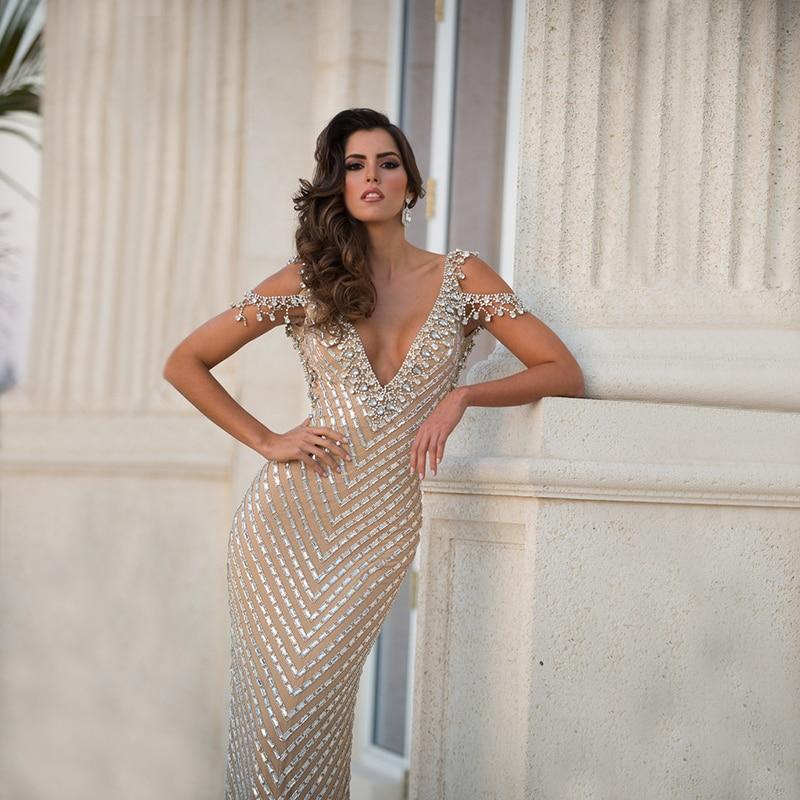 Sexy Mermaid Rhinestone Evening Gown 2016 Real Sample