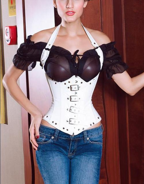 2016 new arrival hot woman Black White Punk Gothic Leather corset for woman underbust waist shape corset W161429
