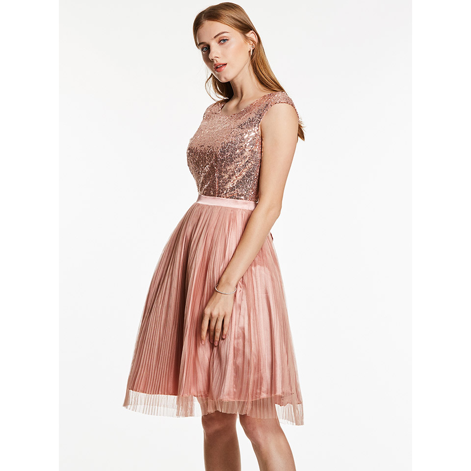 Dressv scoop neck   cocktail     dress   pink cap sleeves knee length a line lace up homecoming short   cocktail     dresses