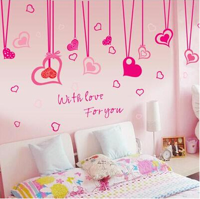 free shipping romantic love removable wall stickers bedroom bedside