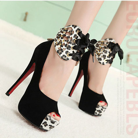 Women's   Summer Style Fish Toe High Heels Platforms Shoes Woman shoes womens sexy Leopard Bowtie Shoes Sandals Women .CBSL-HD