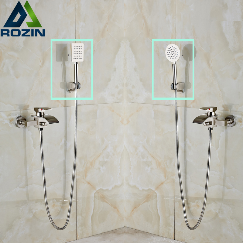 Nickel Brushed Waterfall Bath Spout Handheld Shower Faucet Single Handle with Handshower Holder + ABS Bracket brushed nickel waterfall shower mixer taps wall mount single handle with handshower bath shower faucet set