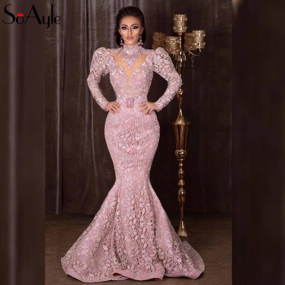 Best Discount Soayle Pink Mermaid Prom Dresses 2019 Sparkly