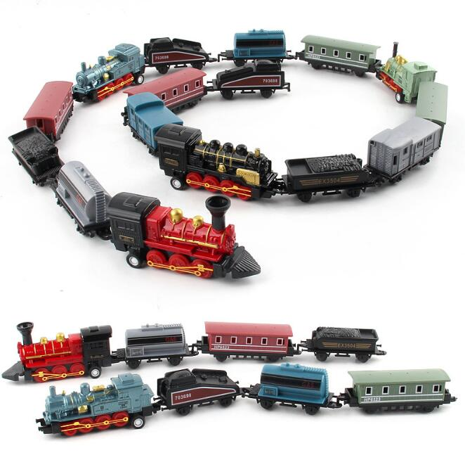 Classical toys for boys Alloy Retro Steam Simulated Joint Train Model mini force toys Gifts New Gift  1 set=4pcs YH1208