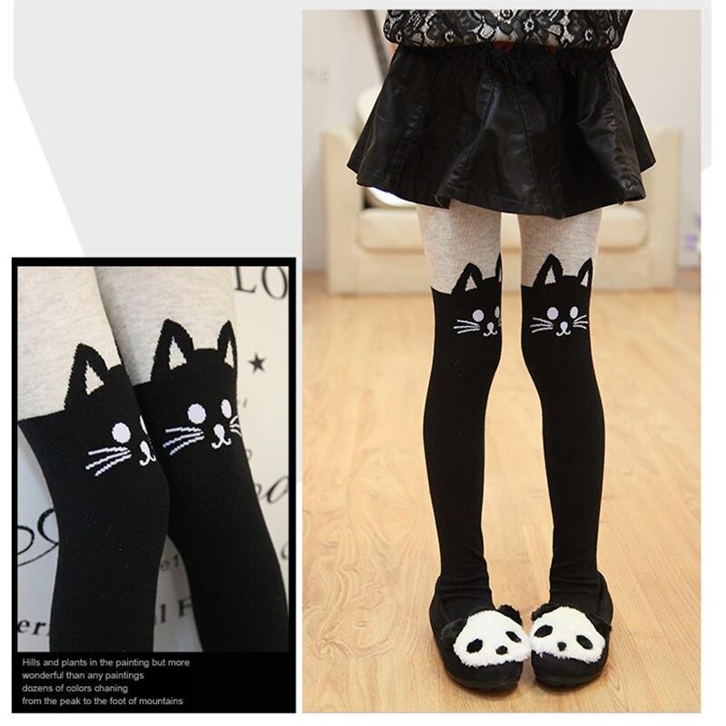 Nejlepší prodej Podzimní zimní dívky Punčochy Cute Kitty Cartoon Tištěné batole Punčochy Kids Kawaii Pantyhose Lovely Velvet Girls Stocking