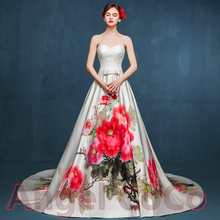Luxury hand-painted Royal Style Evening Dress Women Arabic Prom Dresses Robe De Soiree Long Party Floor Length Gown Morocco 2017
