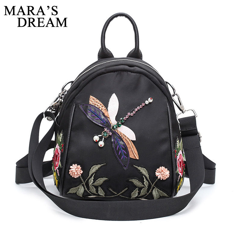 Mara's Dream 2018 Women Backpack New Handmade Embroidery Dragonfly Lady Backpack Fashion Designer 3D Diamond Women Shoulder Bag a three dimensional embroidery of flowers trees and fruits chinese embroidery handmade art design book
