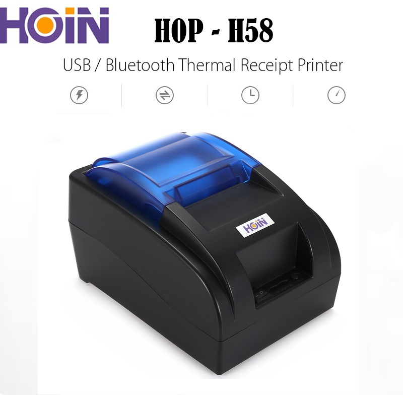 цена HOIN HOP-H58 USB Bluetooth Thermal Cash Receipt Printer POS Printing Machine