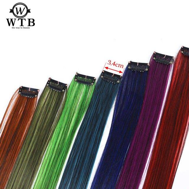 Pelo WTB 1 Clip 1 pieza pinza de 22 pulgadas en una pieza extensiones de cabello largo recto falso piezas de pelo resistente al calor sintético falso