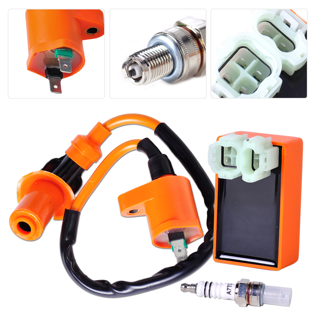 DWCX Motorcycle Racing Ignition Coil +Racing Performance CDI + Spark Plug for GY6 50cc 150cc Scooter ATV Go Kart Moped Dirt bike