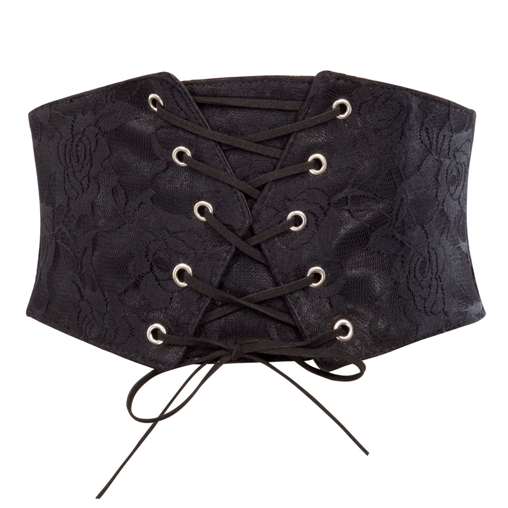 2017 Hot Vintage Black Lace Up High Waist Corset Bandage Women Waist   Belt   Midriff Cincher Wide   Belts   Training Wide Slimming Body