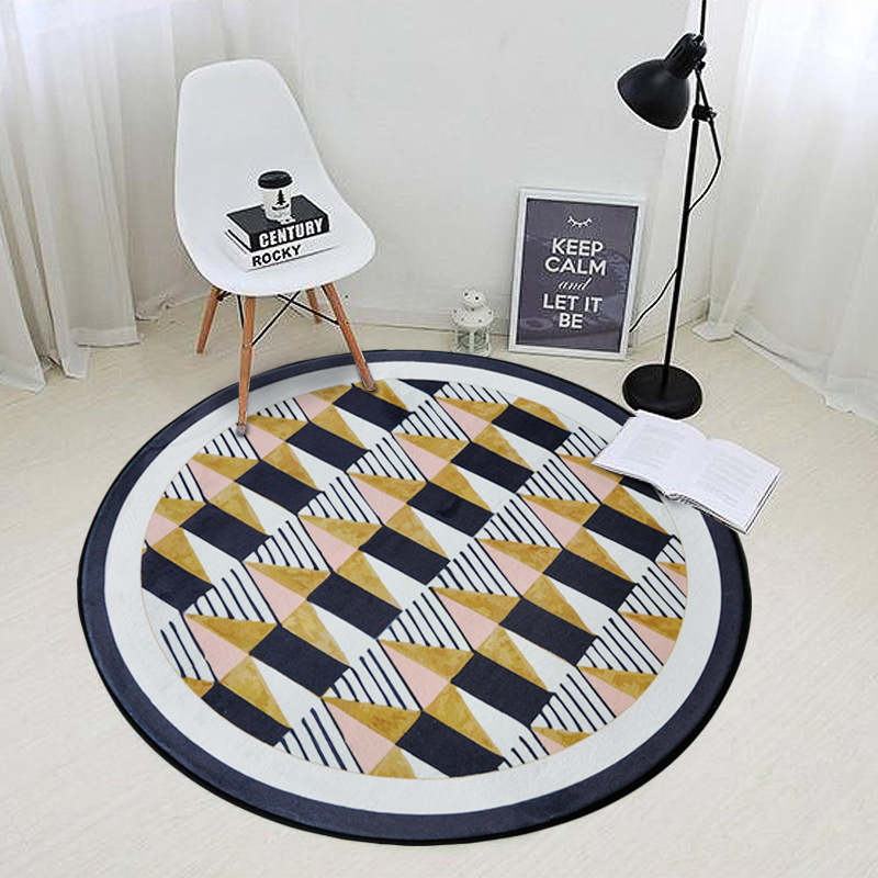 Modern Simplicity Black Yellow Geometric Round Carpet Living Room Children Bedroom Rug Computer Chair Floor Mat Cloakroom Tapete
