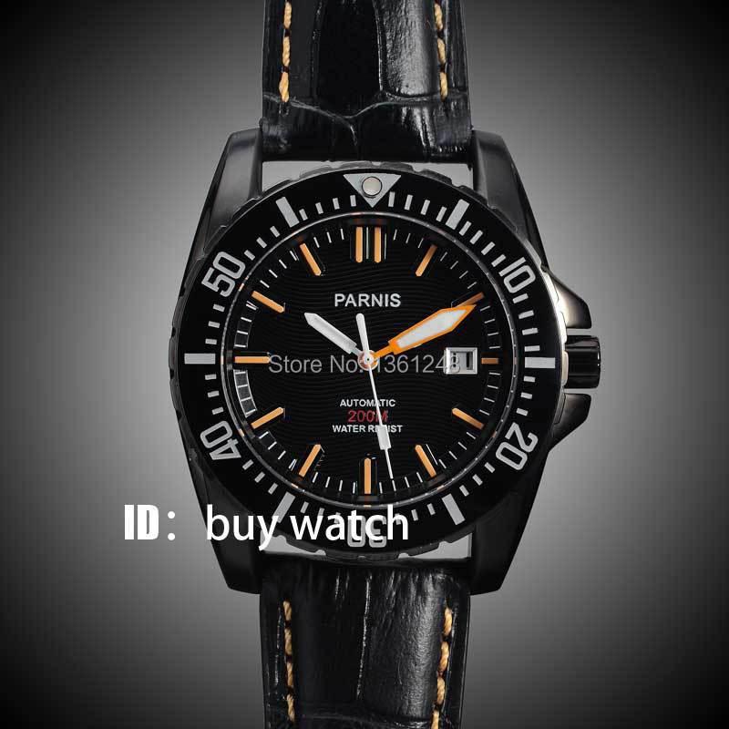 Parnis black dial Sapphire glass Ceramic Bezel PVD case WATER RESISTANT 200m automatic diver mens watch 138