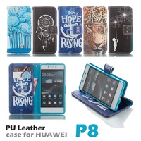 P8 Blue Pink Style Art Cartoon Sky Cats Trees Painted Flip Case Stand Style Wallet PU