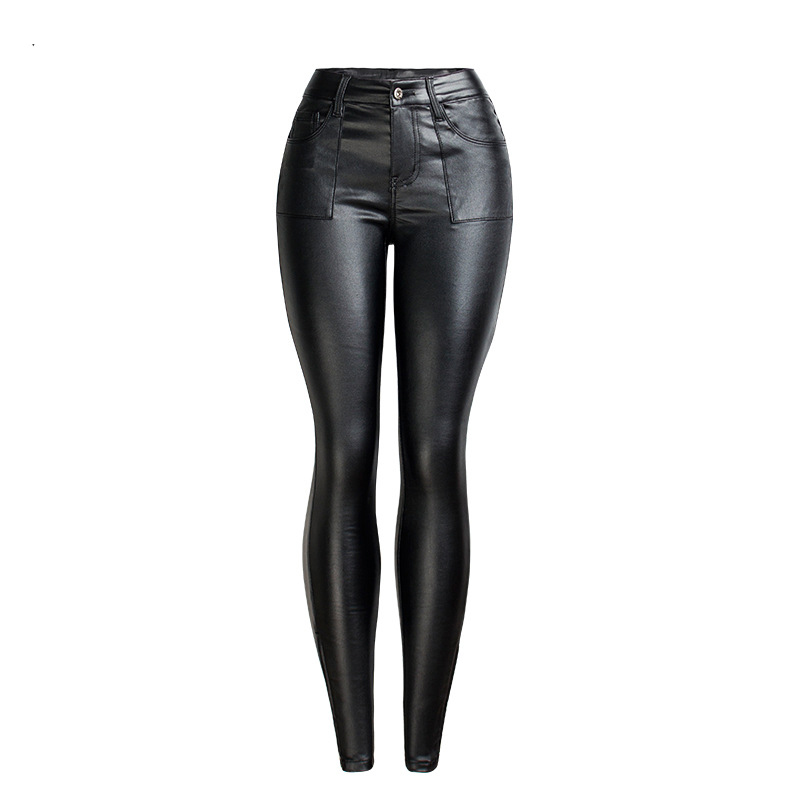 19 Winter Plus Size Stretch PU Leather Pants For Women High Waist Joggers Womens Trousers Pencil Skinny Waisted Female Pants 45