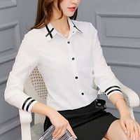 Summer Autumn Fashion Women Striped Work White Blouse And Blouse Female Slim Turn Down Collar Chiffon