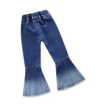 2~6Y Girls Jeans Spring Long Denim Trousers Fashion Kids Ruffle Flare Pants Booot Cut Pantalon Jean Fille Toddler Retro Color(China)