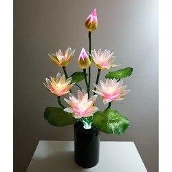 Nuevo estilo 7 cabezas Led Flor de luces de luz Buda lámpara fo novedad artística de fibra óptica de la flor