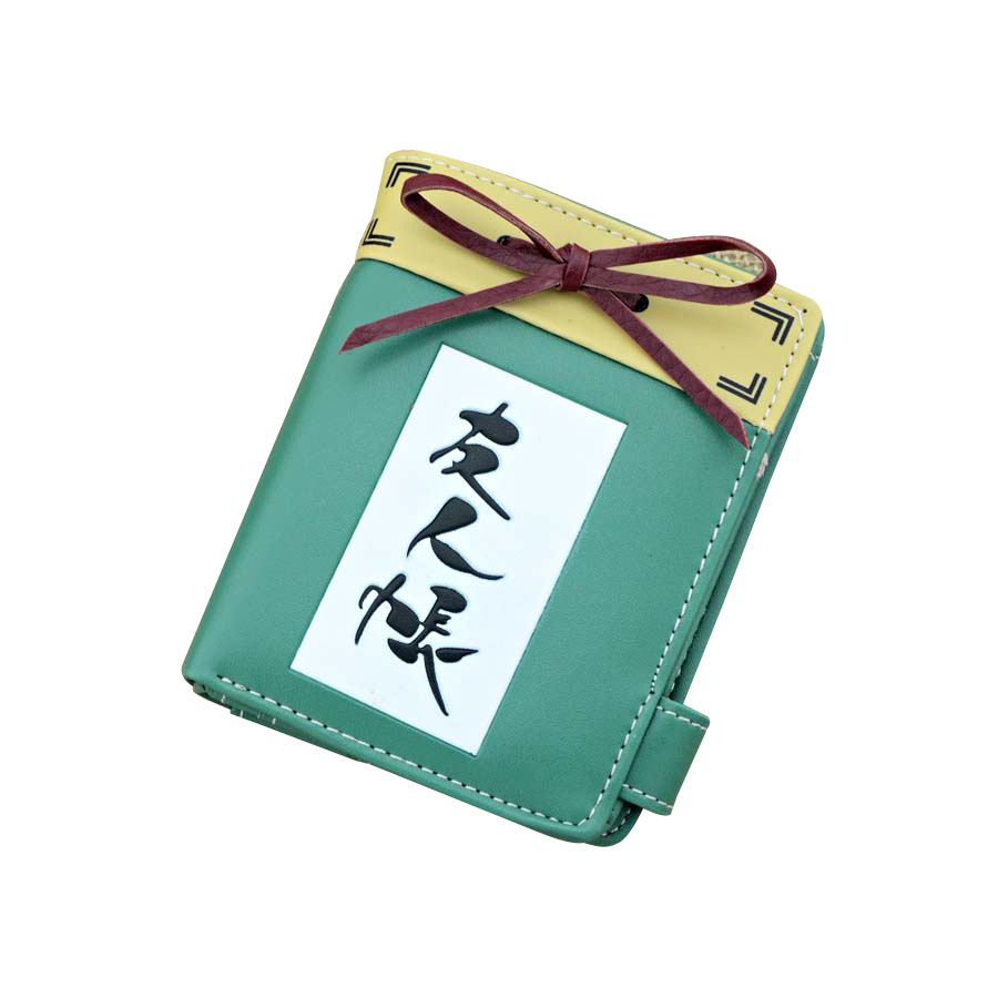 Anime Natsume Yuujinchou PU Purse/Penny Wallet  with Button Printed w-Chinese character Type A anime pu short yellow purse button wallet printed with pikachu of pikachu