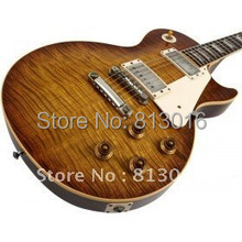 Musical instruments LP OEM   1959 R9 Tiger Flame Electric guitar luxury finished way with Chrome hardware! Free Shipping!