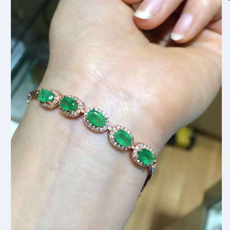 Real Qi Xuan_Fashion Jewelry_Colombia Green Stone Fashion Bracelets_Rose Gold Color Green Stone Bracelet_Factory Directly Sales