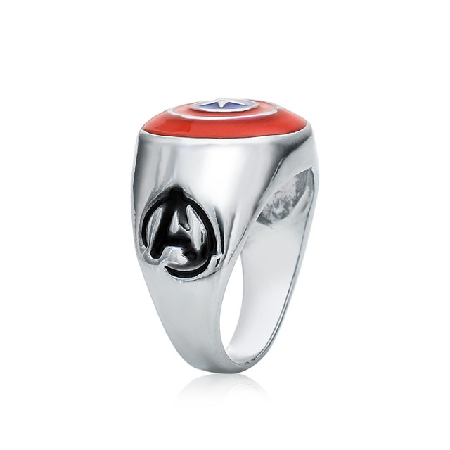 2 pcs New in Box Licensed Captain America Stainless Steel & Enamel Ring