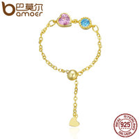 BAMOER Genuine 925 Sterling Silver Gold Color Heart Crystal Chain Rope Finger Rings Women Authentic Silver