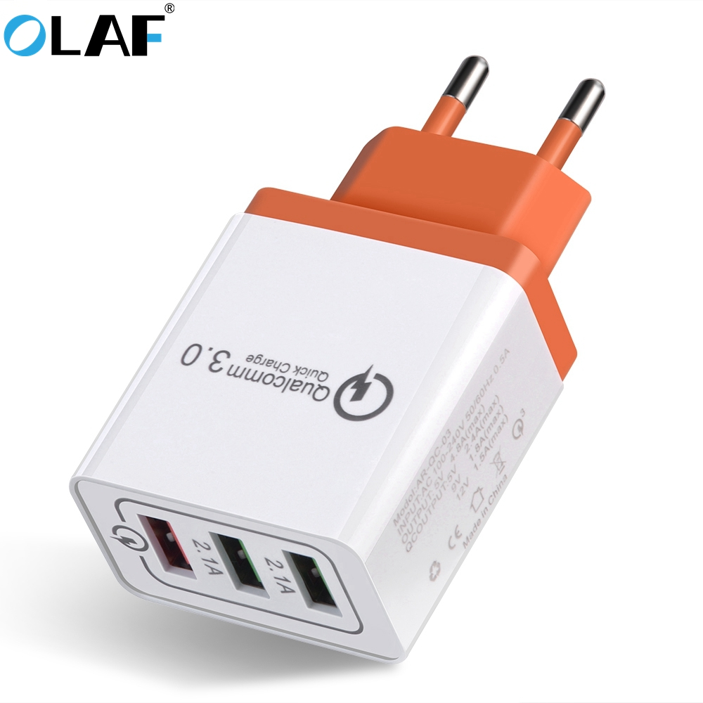 Olaf USB Charger Charger Quick Charge 3.0 For iphone X 8 7 Fast Charger 3 Ports USB Travel Wall Charging Adapter For Samsung S9