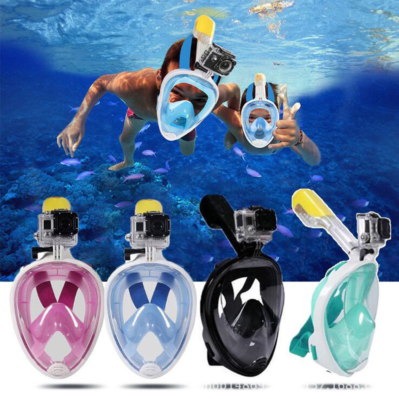 Full Face Snorkel Mask 180 Degree Full Face Scuba Mask Snorkeling Mask Breathing Anti-Fog Anti-Leak Panoramic View Snorkel Set