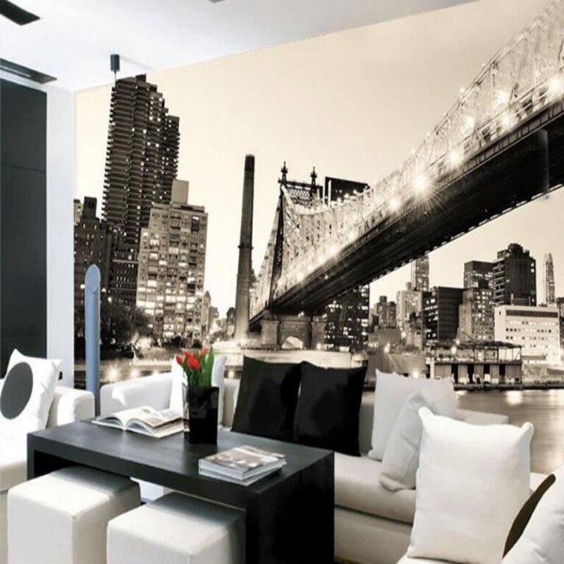 Beibehang Ponte Decorativo in Bianco e Nero Paesaggio 3D Soggiorno ...