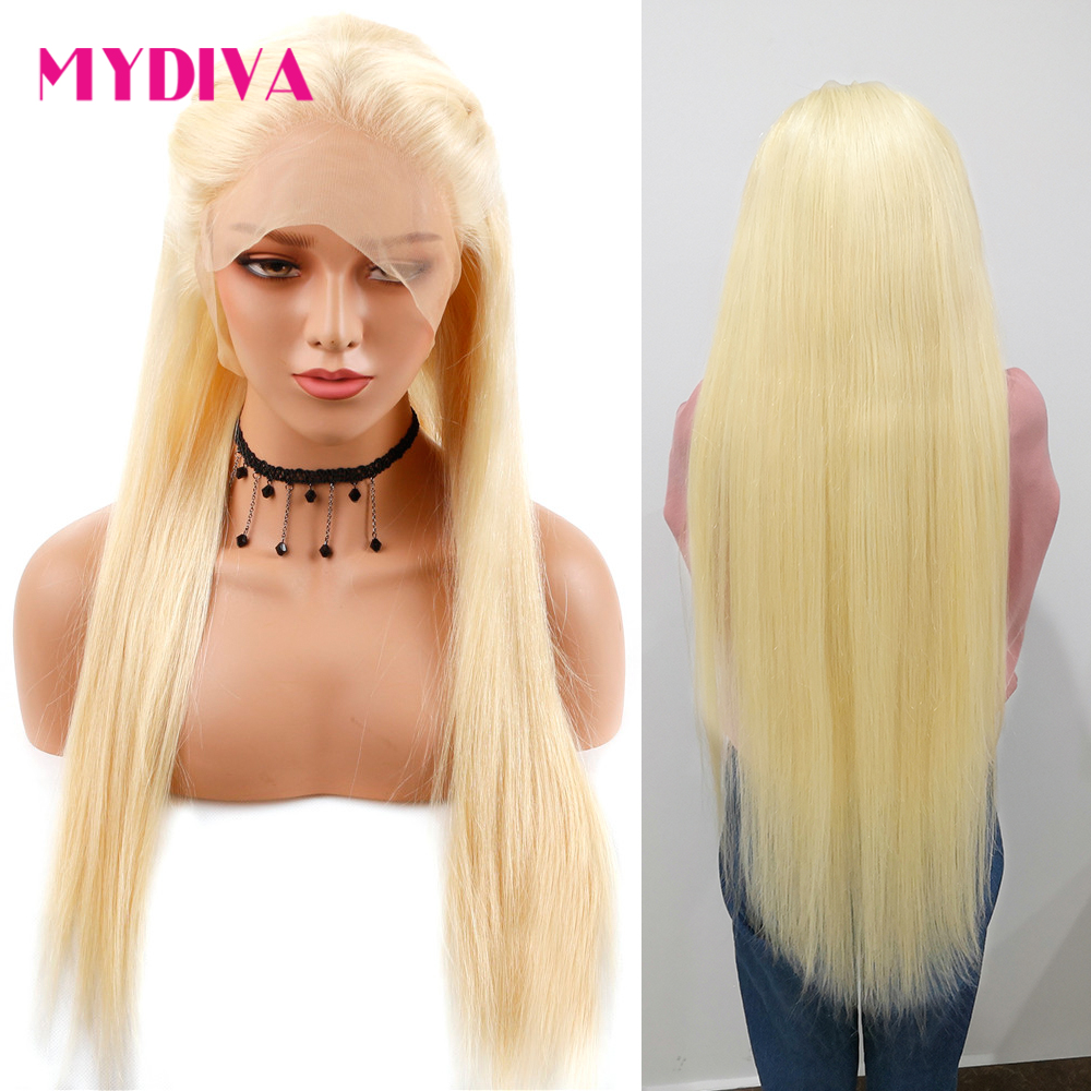 Perruque Lace Front wig brésilienne naturelle Remy lisse | Blond miel 613, pre-plucked, Lace transparente