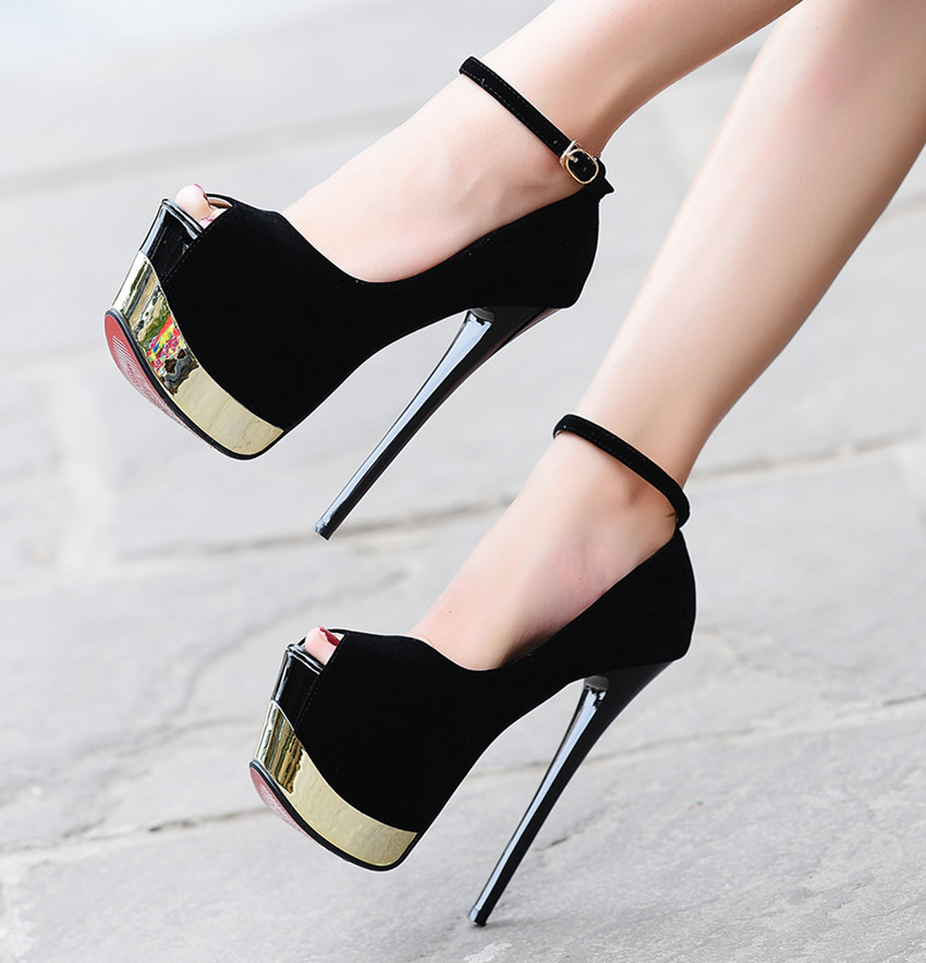 Fashion Platform Women Pumps Sans talons Concise Solid <font><b>High</b></font> <font><b>Heels</b></font> <font><b>17cm</b></font> Wedding Shoes Women's Peep Toe Shallow <font><b>Sexy</b></font> Party Shoes image
