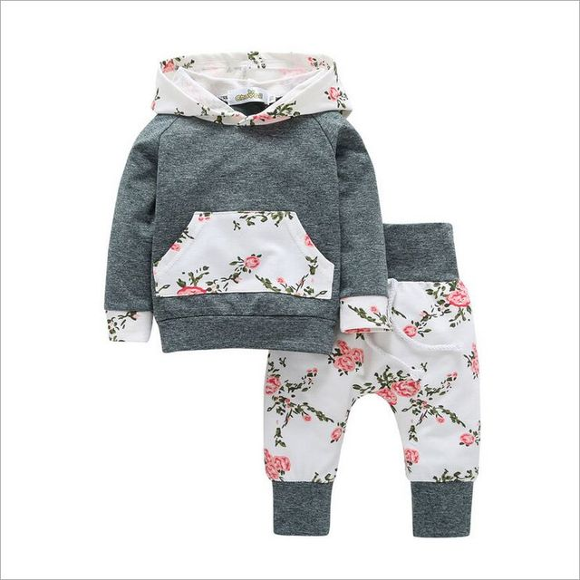 e1d5b1838618a 2018 New children kids baby clothing 2018 Autumn long-sleeved 2pcs sets  girls Tops Hooded sweater +floral pants baby clothes