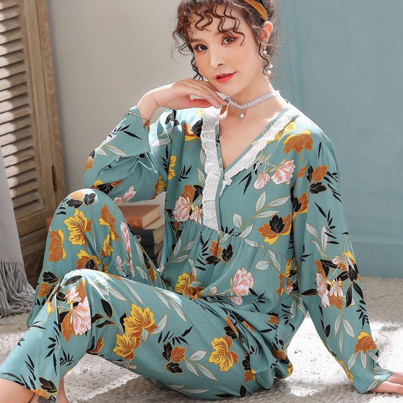 Sexy V-Neck Pyjamas Women Thin Cotton Summer Full Sleeve Long Pants Princess Sweet   Pajamas     Set   Big Size 2019 Home Mom Sleepwear