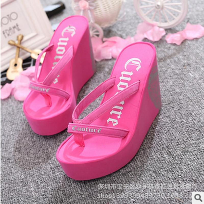 Fashion Summer 11Cm High Heels Women Rubber Flip Flops -2505