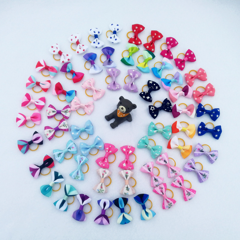 (5 Pieces/lot) Cute Ribbon Puppy Medium Small Dog Hair Bows 30 Colors Pet Hair Accessories Pentagram Flower Pattern Dog Bows