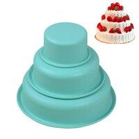 3 יחידות עגול 3D סיליקון אפיית עוגת תבניות בישול Nonstick לחם עובש מחבתות פופס עוגת כלים לקשט חתונת