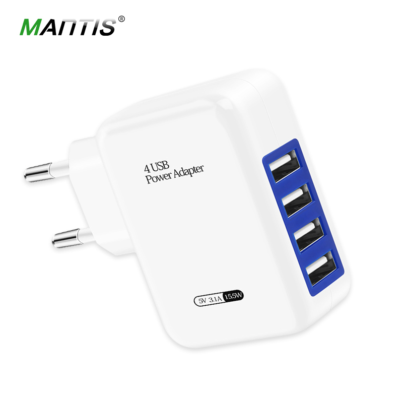 Mantis USB Charger 4 Port EU US Plug 5V3.1A Universal Travel Wall Smart Charging Adapter for iPhone Mini Mobile Phone Charger