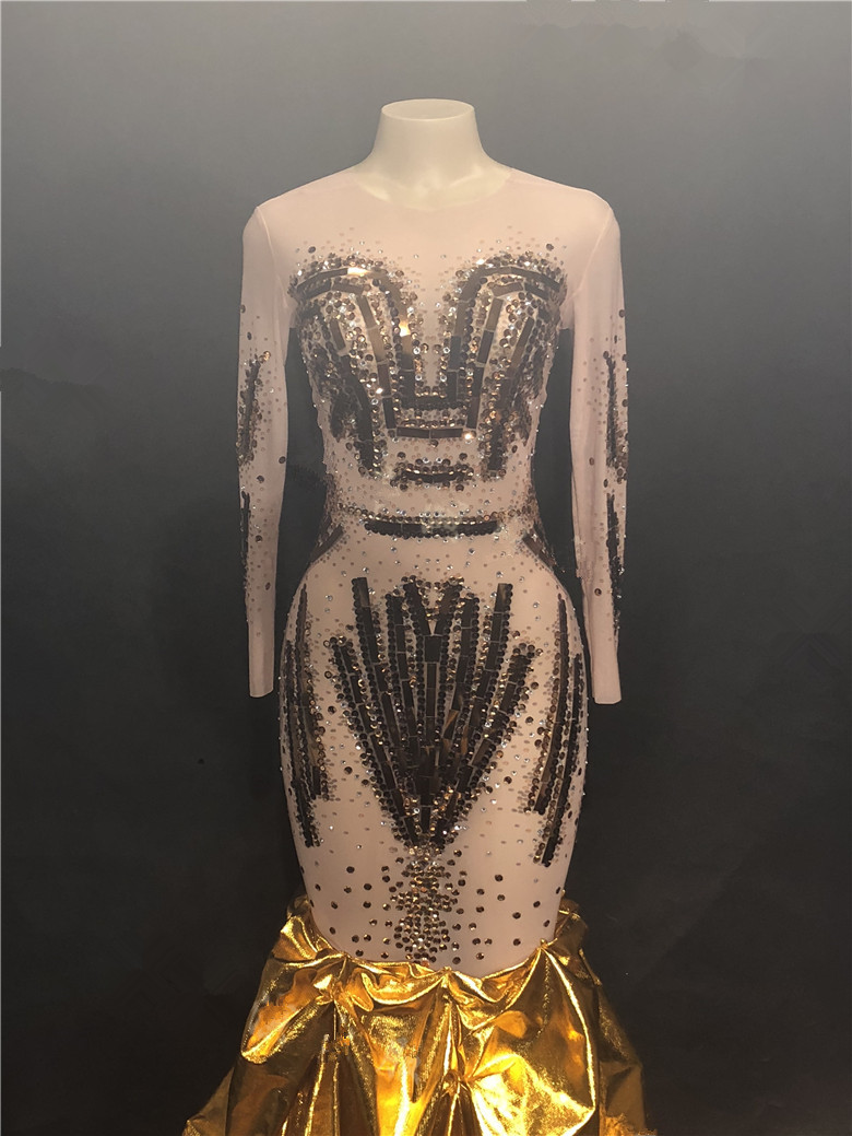 Gold Crystals Diamond Sequins Trailing Dress Women Evening Party Stage One Piece Dress Nightclub Singer Model Catwalk DS Costume 4