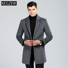 KEGZEIR 2019 Winter Long Coat Men Casual Single breasted Men Overcoat Fashion Slim Trench Coat