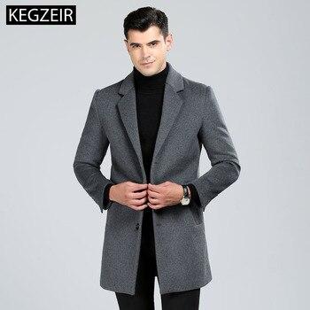 KEGZEIR 2019 Winter Long Coat Men Casual Single-breasted Men Overcoat Fashion Slim Trench Coat Men Wool Abrigo Hombre Invierno