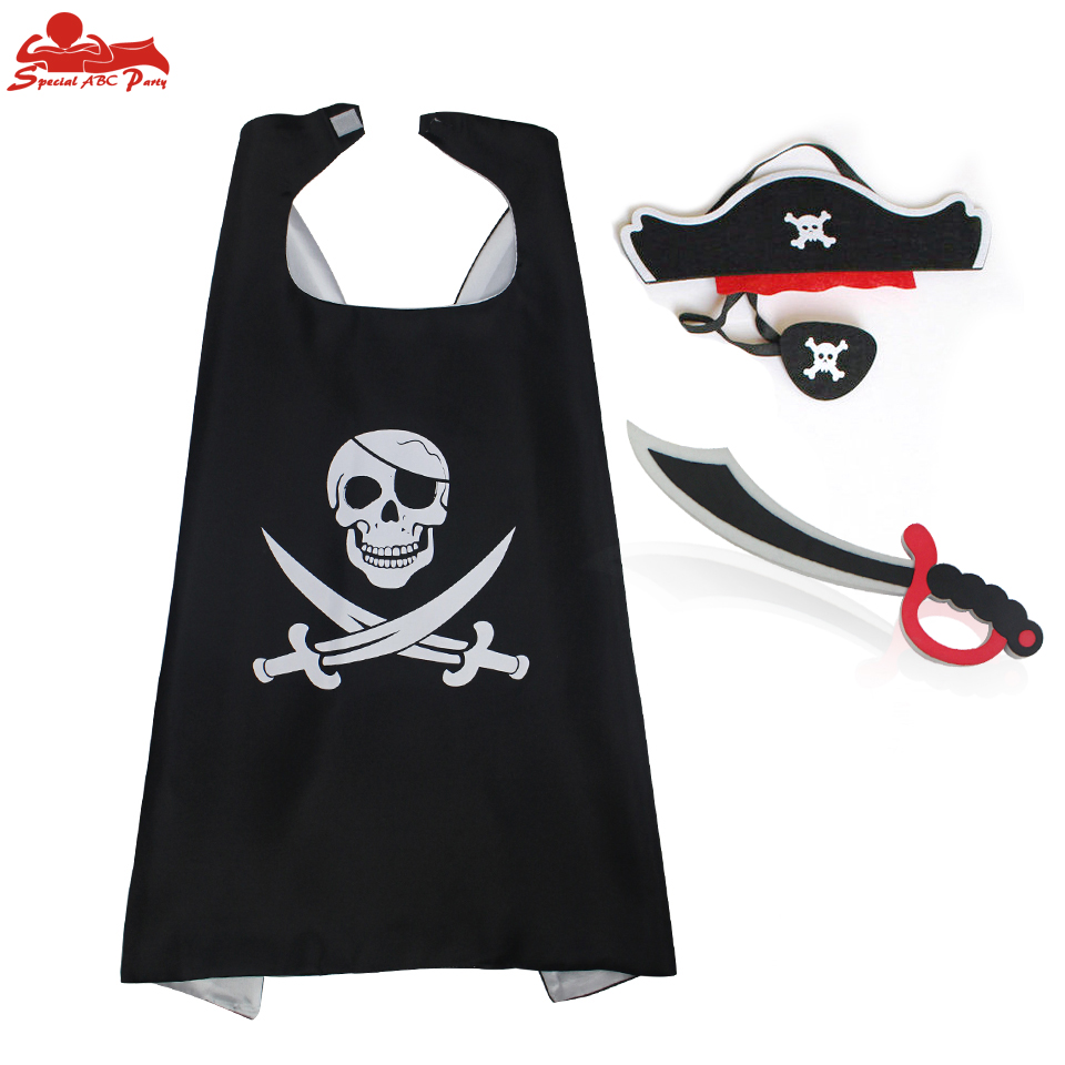 SPECIAL L27 * Chłopcy Pirate Costume Cape Mask Eye Patch Elastyczny nóż EVA Toy Son Birthday Party Cloak Halloween Costume
