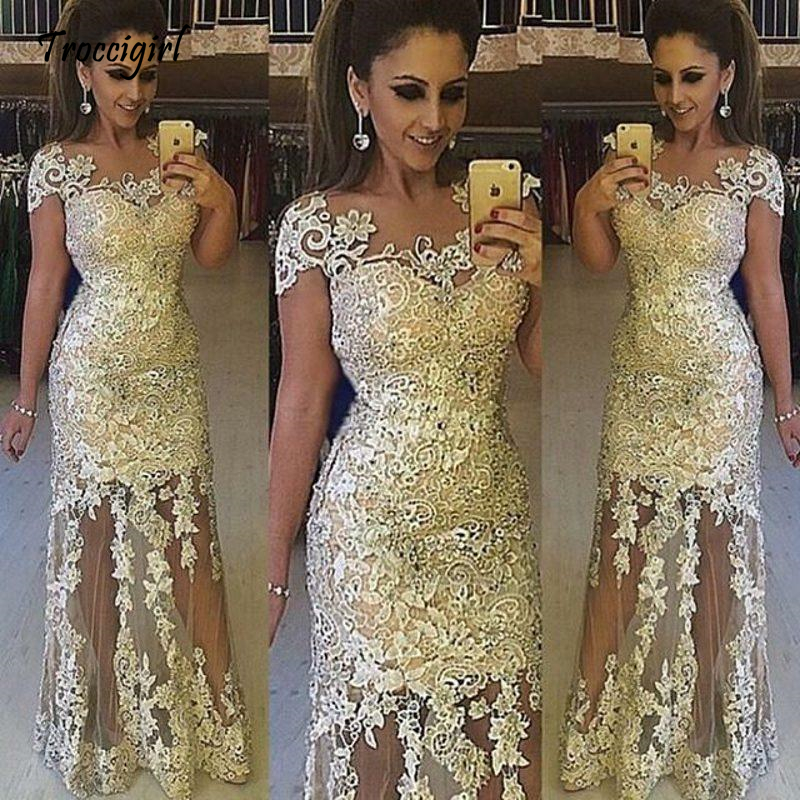 Gold Lace Applique Prom   dresses   Cap Sleeve Long Formal   Evening     Dress   Party Gowns custom