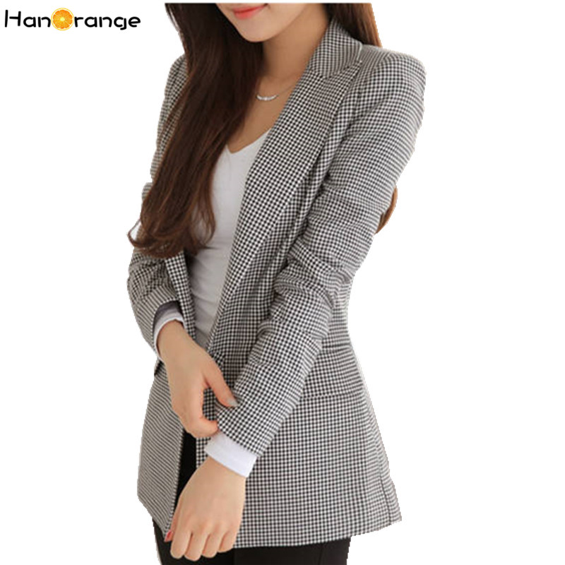 HanOrange 2019 New Spring Autumn Slim Houndstooth Plaid Long Blazer For Women Jacket Black White Jacket XXXL Plus Size