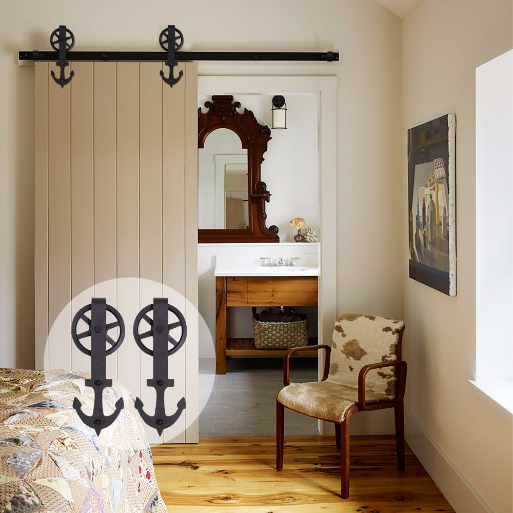 LWZH Closing Antique Style Steel Sliding Barn Door Hanger Track Hardware Kit Black Anchor Shaped With Big Roller For Single Door