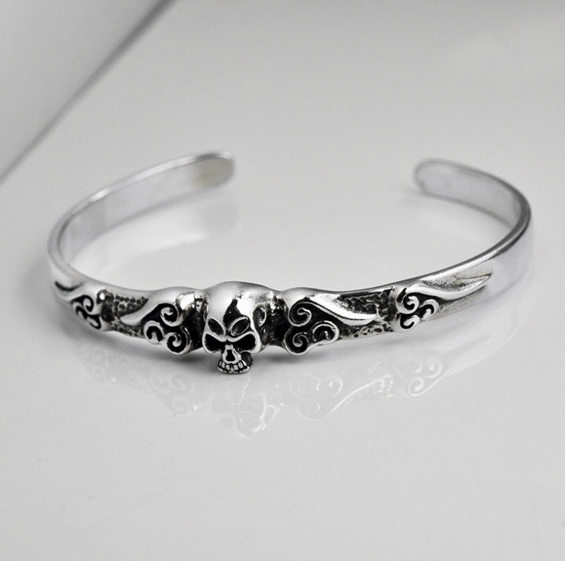 S925 Sterling Silver Men's Skull head Open Punk Bracelet Personalized Retro Jewelry