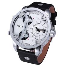Montre Homme North Brand Watch Three Time Movements Quartz Wrist Watch PU Leather Mens Analog Digital Watch Quartz Wristwatch