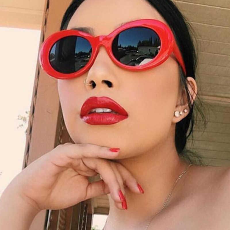 00df4bb5a1 ... LVVKEE Clout Goggles Oval Sunglasses Women Men NIRVANA Kurt Cobain  Mirror Sun Glasses Retro Female
